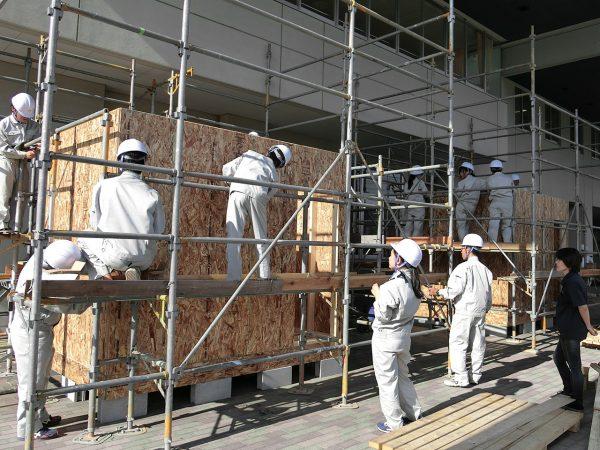 学生向け枠組壁工法建方実習(徳島県立科学技術高等学校)2